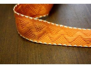 Oranžová žakárová stuha s bílým štepem, 30mm