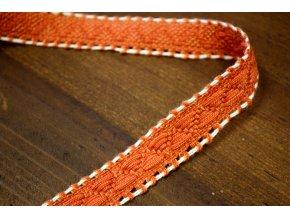 Oranžová žakárová stuha s bílým štepem, 20 mm
