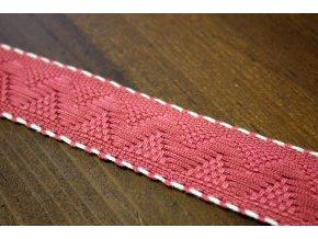Růžová žakárová stuha s bílým štepem, 30mm