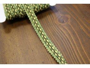 Plastický, ozdobný prýmek zelenožlutý