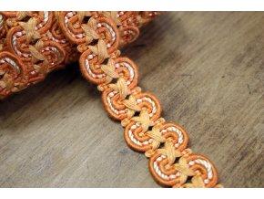 Oranžový bavlněný prýmek větší vlna, 20 mm