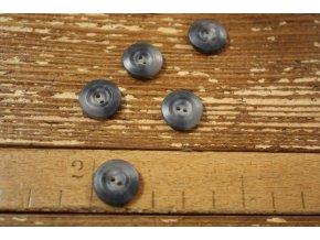 Šedý matný knoflík, 15 mm