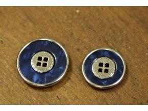 Modrý knoflík se stříbrným středem, 2 velikosti