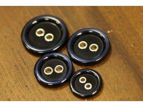 Modrý knoflík s kovovými dírkami, 4 velikosti
