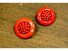 Červený ozdobný knoflík s ouškem, 2 velikosti