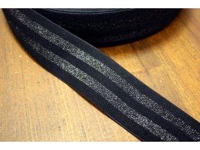 Černá pruhovaná guma s lurexem, 40mm
