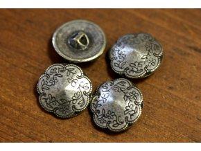 Stříbrný knoflík s motivem jemných květů, 22mm
