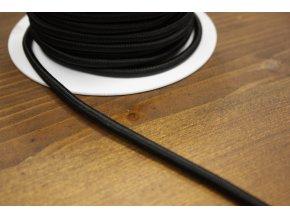 Kulatý pružný černý provaz, 5 mm