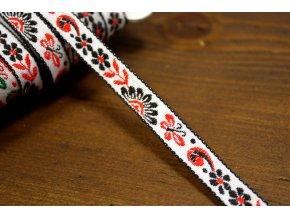 Žakárová stuha černo-červené květy, 10 mm