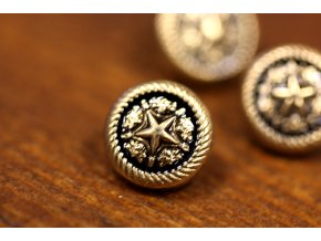 Zlatý knoflík hvězda, 9 mm