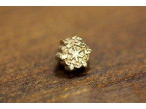 Zlatý knoflík sněhová vločka, 10 mm