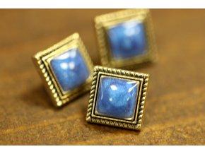 Modrý knoflík se zlatým rámečkem čtverec 8 mm