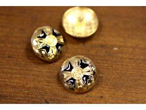 Zlatý knoflík s motivem maltézského kříže, 22 mm