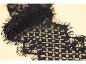 Černá geometrická tylová krajka, 10 cm