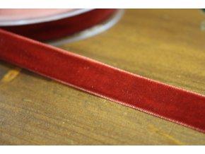 Cihlově červená sametová stuha, 16mm