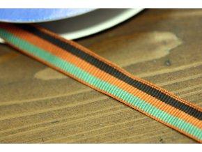 Bavlněná, pruhovaná stuha v oranžovém odstínu, 20 mm