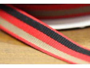 Bavlněná, pruhovaná stuha v odstínu červené, 20 mm
