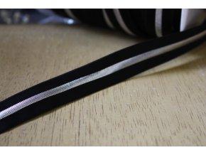 Černá guma se stříbrným pruhem, 20mm