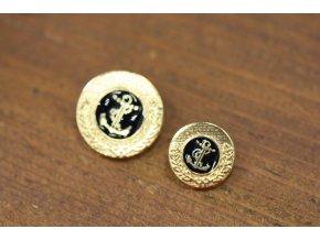 Zlatý knoflík s kotvou ve dvou velikostech