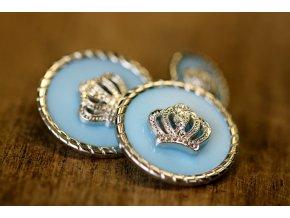 Světle modrý knoflík se stříbrnou korunou, 2 velikosti