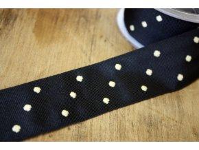 Černá rypsová stuha s puntíkem