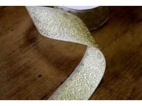 Žakárová stuha zlatý květ, 45 mm