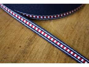 Žakárová stuha modro-červená s bílou, 10 mm
