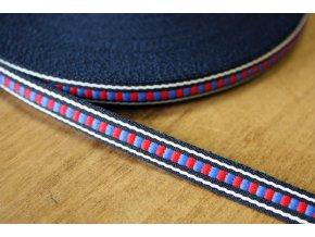 Žakárová stuha s modro-červeným středem, 10 mm