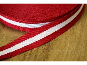 Červeno-bílá rypsová stuha