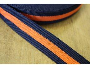 Modro-oranžová rypsová stuha