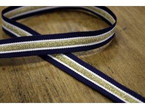 Modrá rypsová stuha se zlatým pruhem, 12mm