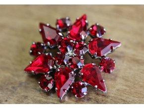 Červený štrasový knoflík a la Dior