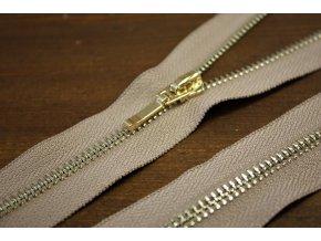 Zlatý dělitelný zip v barvě Cappuccino, 55cm