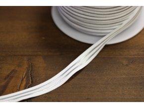 Jemná bílá guma se stříbrným pruhem, 10mm