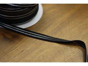 Jemná černá guma se stříbrným pruhem, 10mm