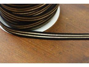 Jemná černá guma se zlatým pruhem, 10mm