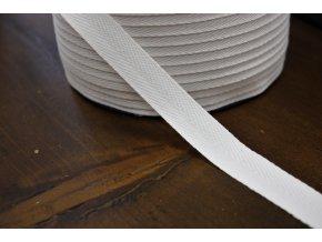 Bílá bavlněná keprovka, 15mm