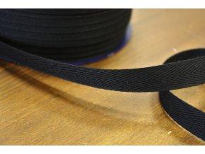 Černá bavlněná keprovka, 15mm