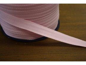 Růžová bavlněná keprovka, 15mm