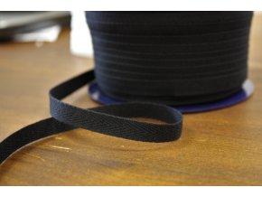 Černá bavlněná keprovka, 10mm
