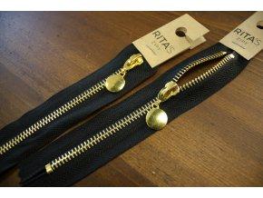 Černý zip se zlatým kovem, 16cm