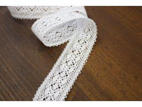 Bavlněná bílá krajka, 25mm