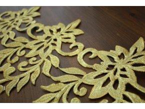 Zlatá nažehlovací krajka ve tvaru větvi, 22cm