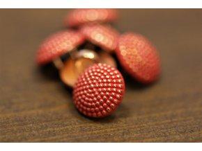 Zlato-červený kovový knoflík, 10mm
