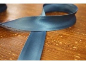 Saténový šikmý proužek, odstíny modré 25mm