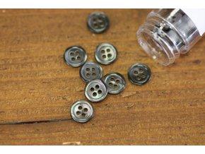 Tmavě šedý čtyřdírkový perleťový knoflík 10mm