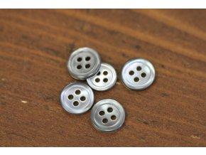 Šedý čtyřdírkový perleťový knoflík 12mm