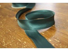 Saténový šikmý proužek, zelené odstíny 25 mm