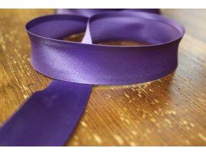 Saténový šikmý proužek, odstíny fialové 25 mm