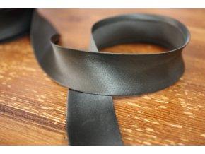 Saténový šikmý proužek, odstíny šedé 25 mm